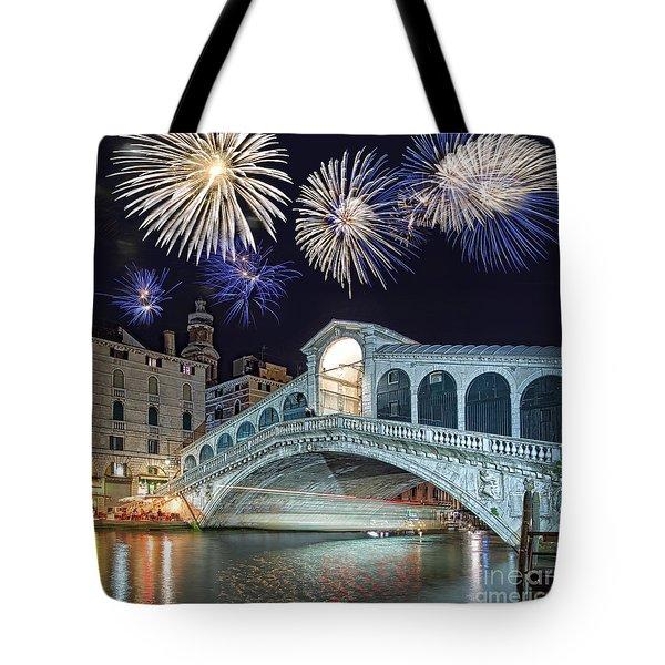 Rialto Bridge Fireworks Tote Bag