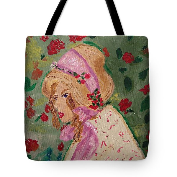 Ribbons And Roses Tote Bag by Mary Carol Williams