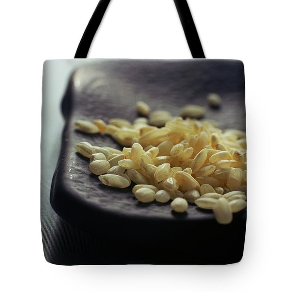 Rice On A Black Plate Tote Bag
