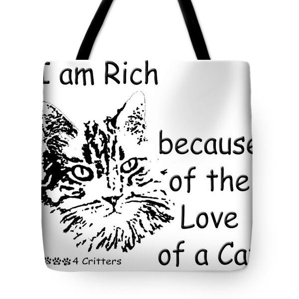 Tote Bag featuring the photograph Rich Because Of The Love Of A Cat by Robyn Stacey