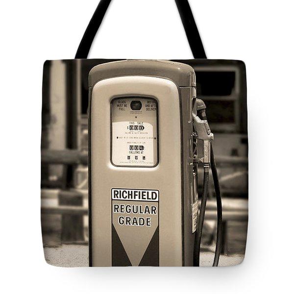 Richfield Ethyl - Gas Pump - Sepia Tote Bag by Mike McGlothlen