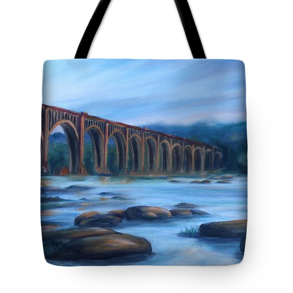 Tote Bag featuring the painting Richmond Train Trestle by Donna Tuten