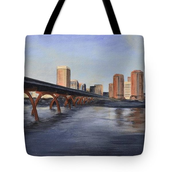 Tote Bag featuring the painting Richmond Virginia Skyline by Donna Tuten