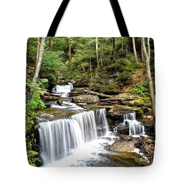 Ricketts Glen Delaware Falls Tote Bag by Frozen in Time Fine Art Photography