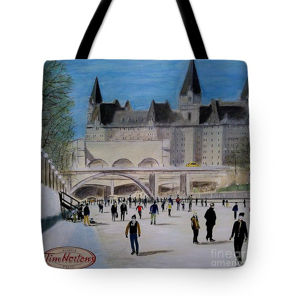 Rideau Canal Winterlude Tote Bag by John Lyes