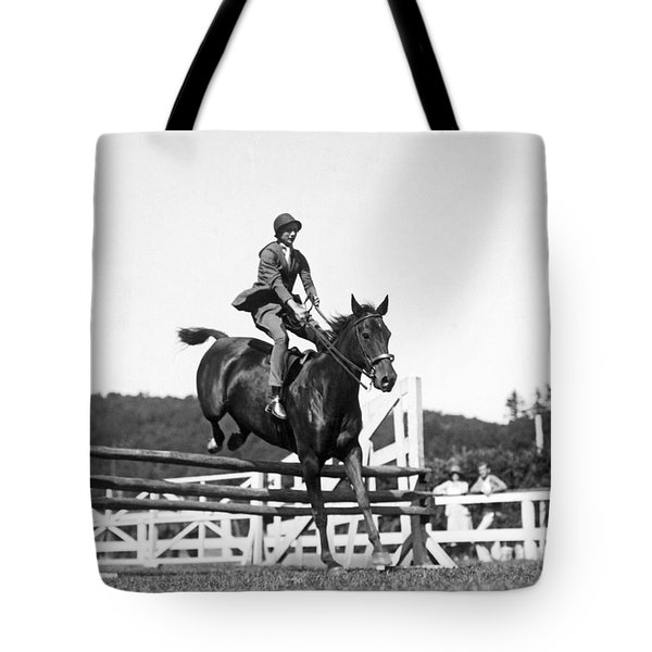 Rider Jumps At Horse Show Tote Bag