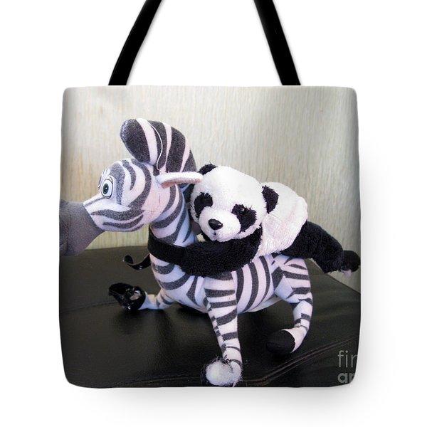Tote Bag featuring the photograph Riding A Zebra.traveling Pandas Series by Ausra Huntington nee Paulauskaite