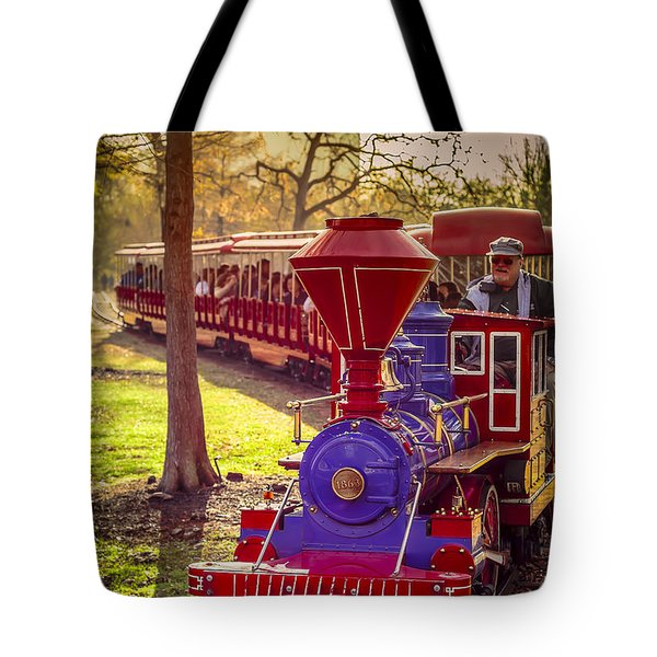 Riding Out Of The Sunset On The Hermann Park Train Tote Bag