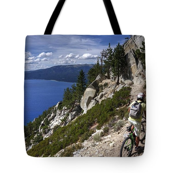 Tote Bag featuring the photograph Riding The Flume Trail by Peter Thoeny