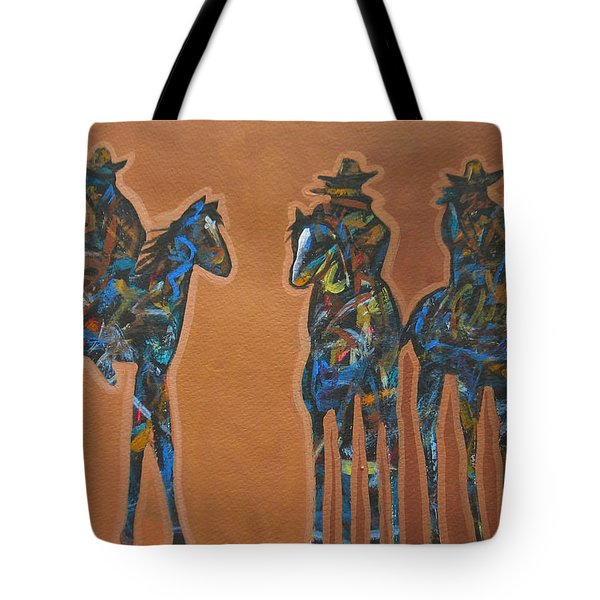 Riding Three Tote Bag by Lance Headlee