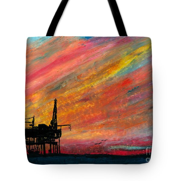 Rig At Sunset Tote Bag