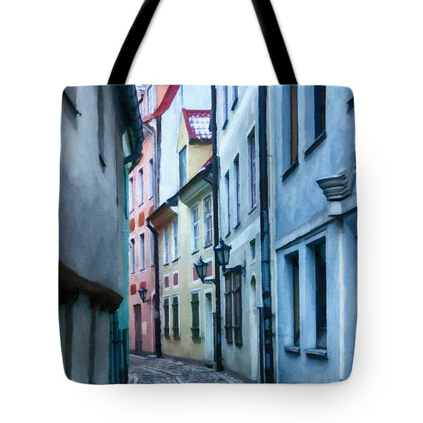 Riga Narrow Street Painting Tote Bag