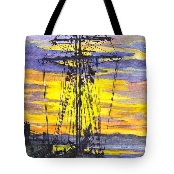 Rigging In The Sunset Tote Bag by Carol Wisniewski