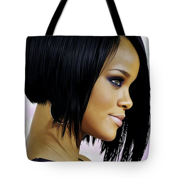 Tote Bag featuring the painting Rihanna Artwork by Sheraz A