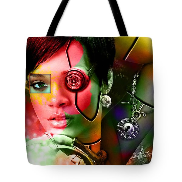 Rihanna Over Rihanna Tote Bag by Marvin Blaine