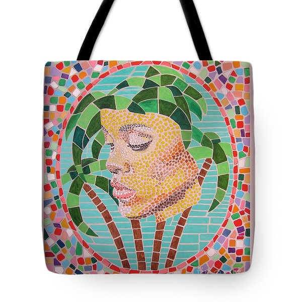 Rihanna Portrait Painting In Mosaic  Tote Bag