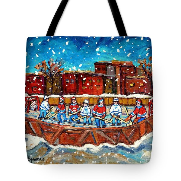 Rink Hockey Game Little Montreal Superstars Montreal Memories Snowy City Scene Carole Spandau Tote Bag by Carole Spandau
