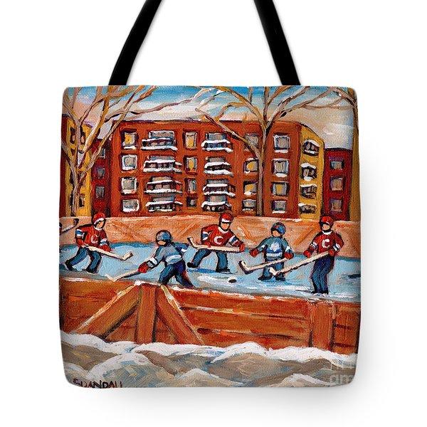 Rink Hockey Game-winter Scene Painting-montreal Street Scenes Tote Bag by Carole Spandau