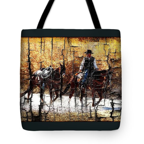 Rio Cowboy With Horses  Tote Bag by Barbara Chichester