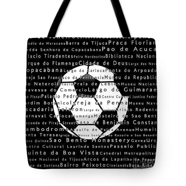 Rio De Janeiro In Words Black Soccer Tote Bag