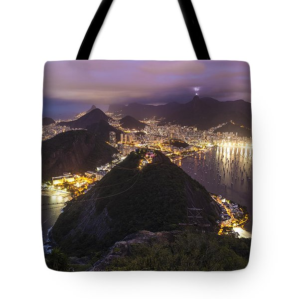 Rio Evening Cityscape Panorama Tote Bag by Mike Reid