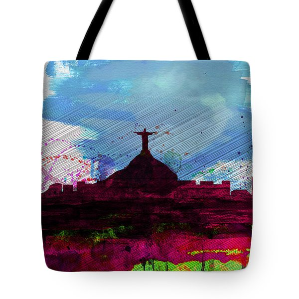 Rio Watercolor Skyline Tote Bag by Naxart Studio