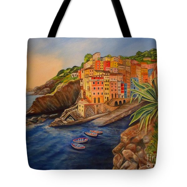 Riomaggiore Amore Tote Bag by Julie Brugh Riffey