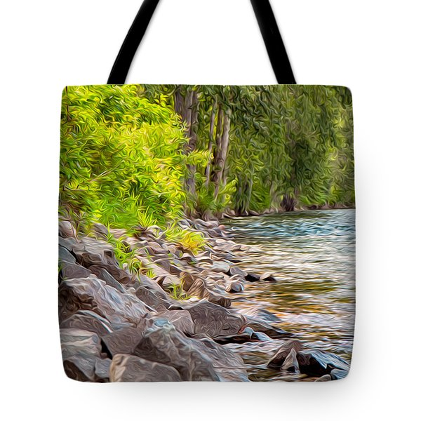 Rip Rap On The Methow River Tote Bag by Omaste Witkowski