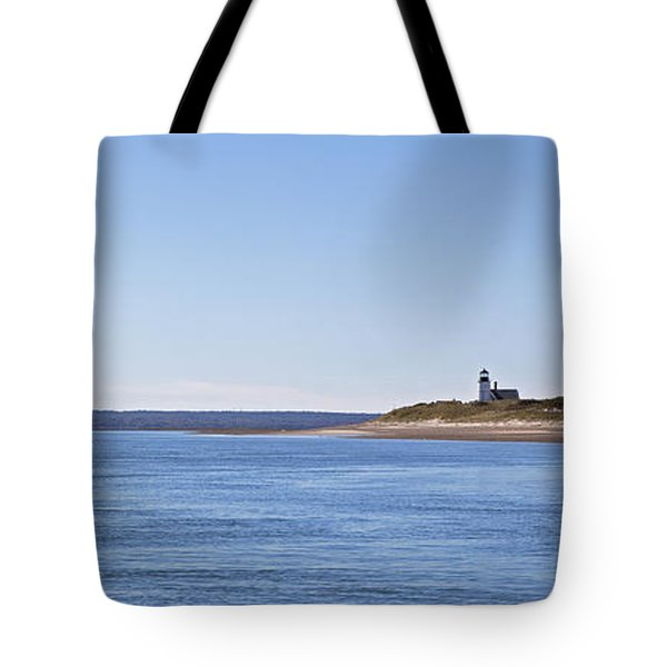Ripple Catboat With Red Sail And Lighthouse Tote Bag