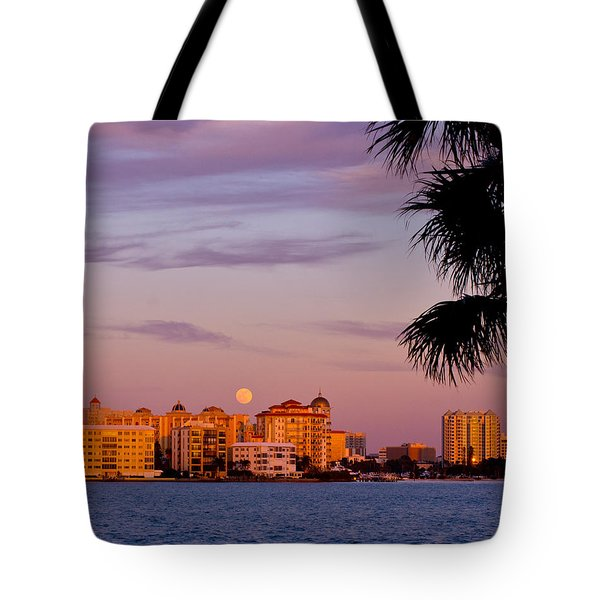 Rising Full Moon Sunset Sarasota Cityscape Tote Bag