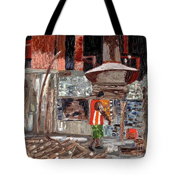 Tote Bag featuring the painting River Antoine Rum Distillery by Laura Forde