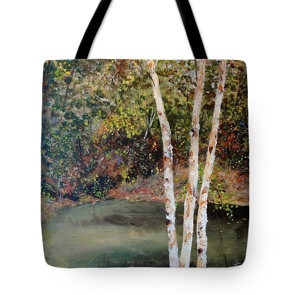 Tote Bag featuring the painting River Birch by Alan Lakin