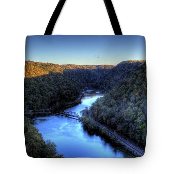 Tote Bag featuring the photograph River Cut Through The Valley by Jonny D
