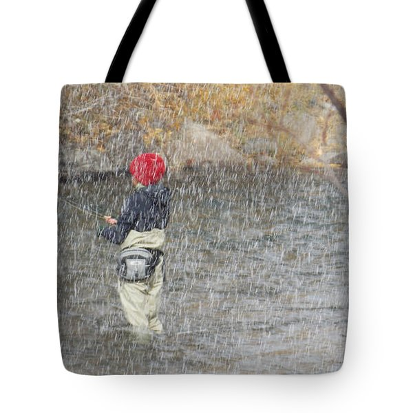 River Fishing In The Snow Tote Bag by Brent Dolliver