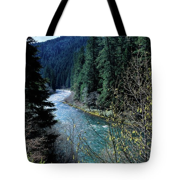River Flowing Through A Forest, North Tote Bag