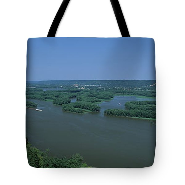 River Flowing Through A Landscape Tote Bag