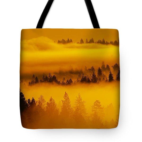 River Fog Rising Tote Bag