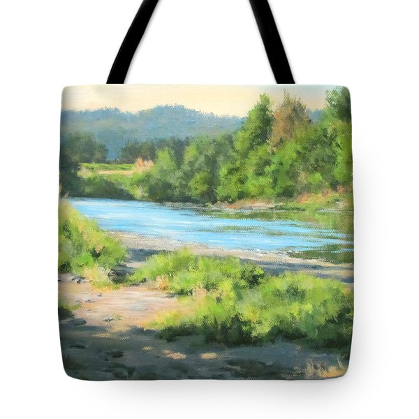 River Forks Morning Tote Bag by Karen Ilari