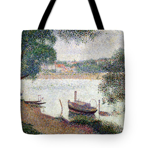 River Landscape With A Boat Tote Bag by Georges Pierre Seurat