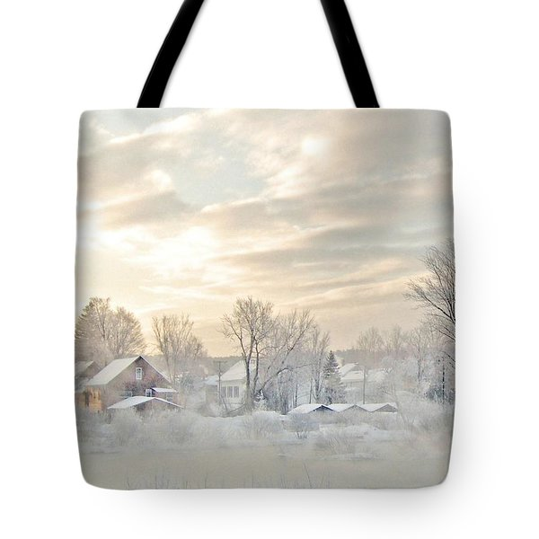 River Mist On A Very Cold New Hampshire Morning Tote Bag