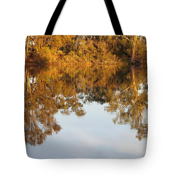 River Murray Reflections Early Evening Tote Bag by Carole-Anne Fooks