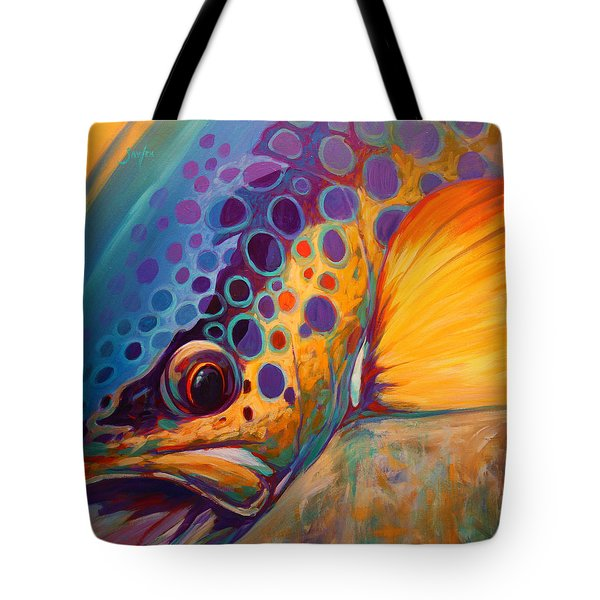 River Orchid - Brown Trout Tote Bag by Savlen Art