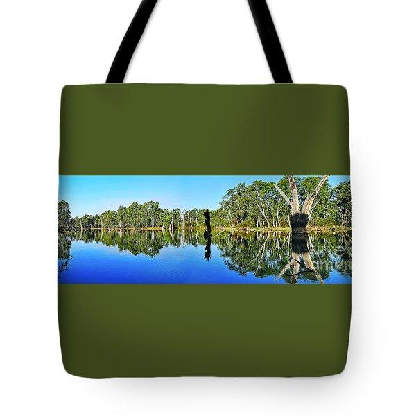 River Panorama And Reflections Tote Bag by Kaye Menner