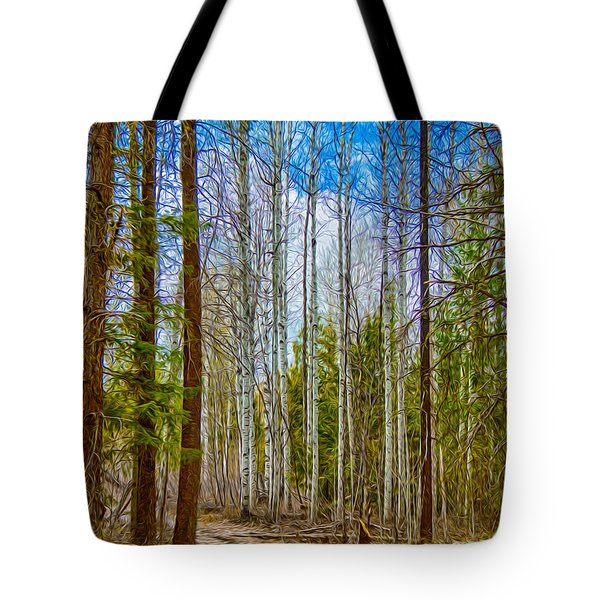 Tote Bag featuring the painting River Run Trail At Arrowleaf by Omaste Witkowski
