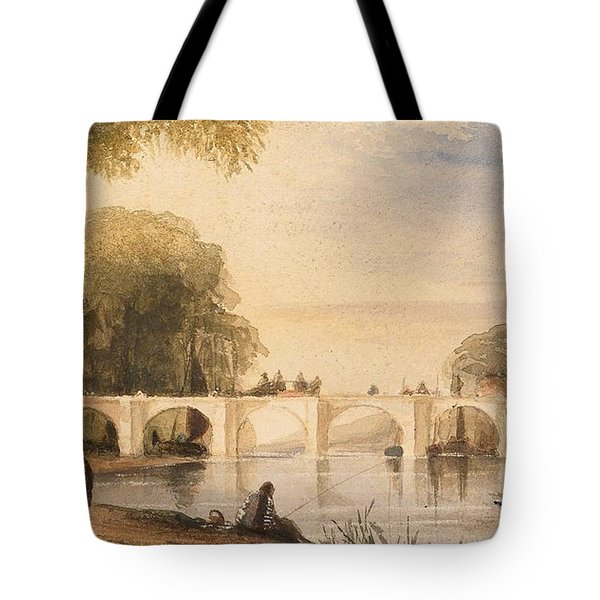 River Scene With Bridge Of Six Arches Tote Bag by Robert Hindmarsh Grundy