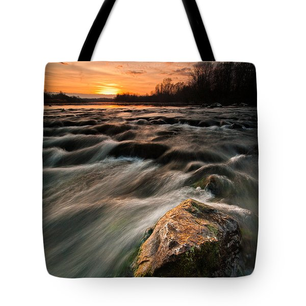 River Sunset Tote Bag by Davorin Mance