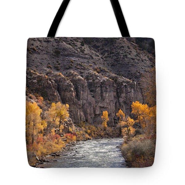 River Through The Aspen Tote Bag by David Kehrli
