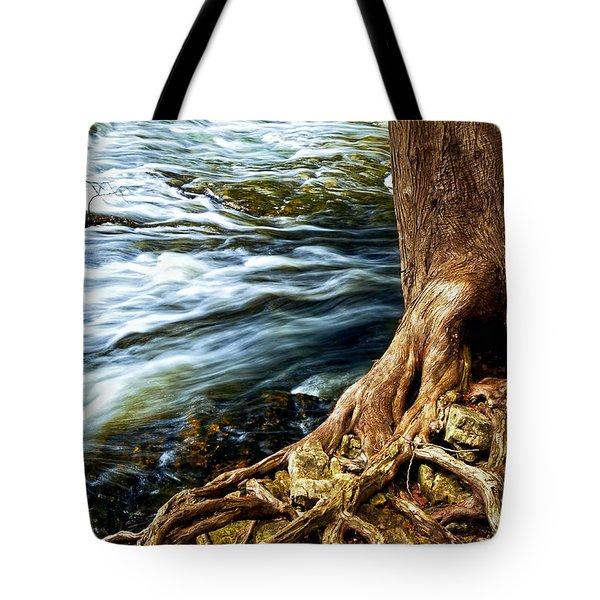 River Through Woods Tote Bag