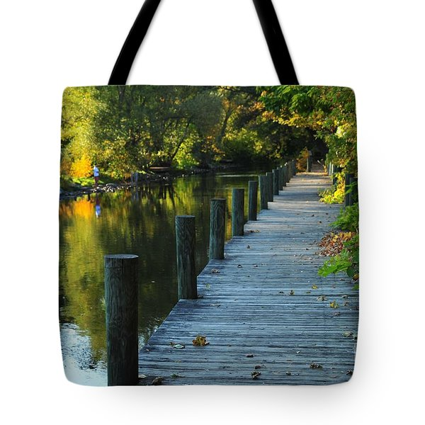 River Walk In Traverse City Michigan Tote Bag by Terri Gostola