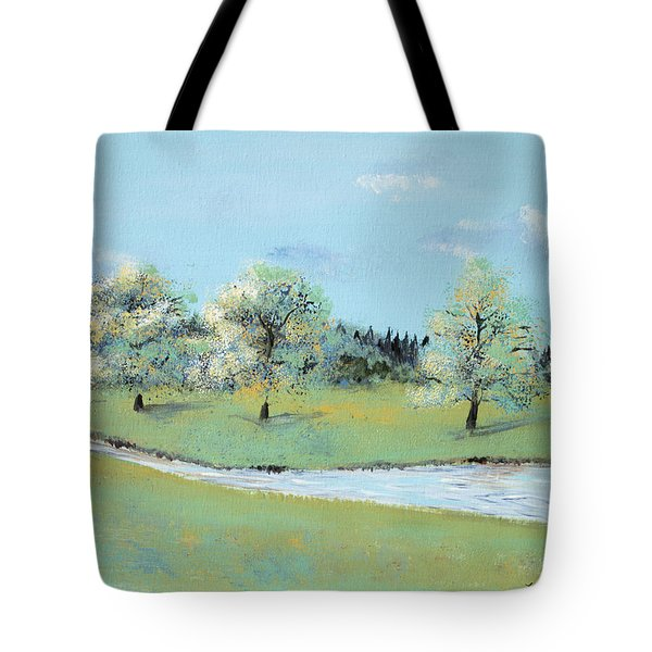 Tote Bag featuring the painting River Windrush by Elizabeth Lock
